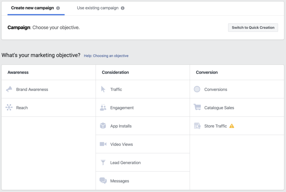 Choosing your Facebook Ads objective