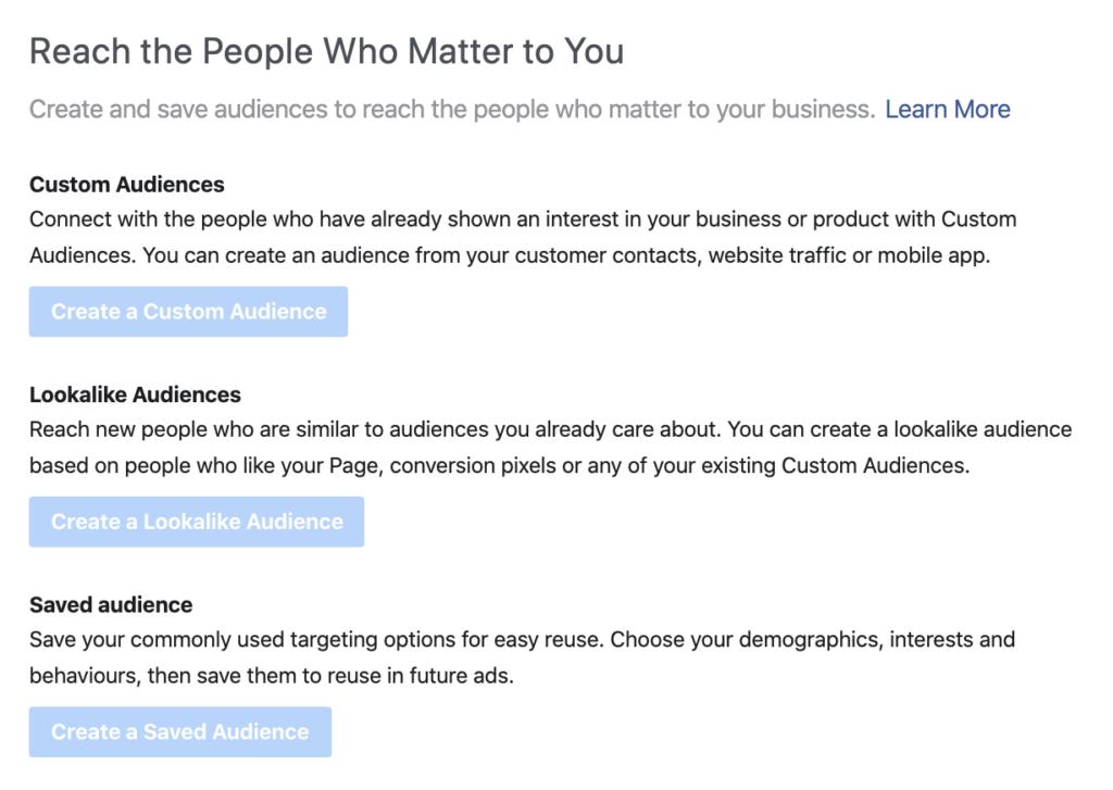 Choosing your Facebook Ads audiences