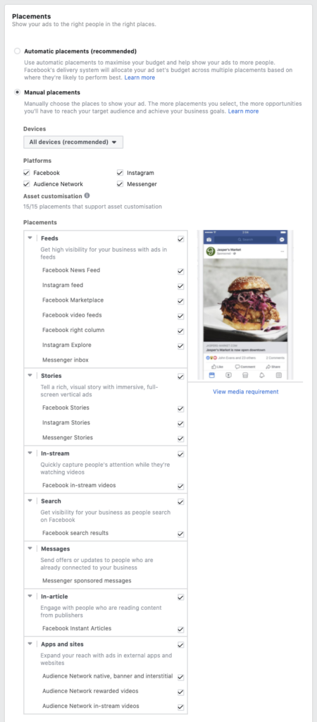 Facebook Ads placements and platforms