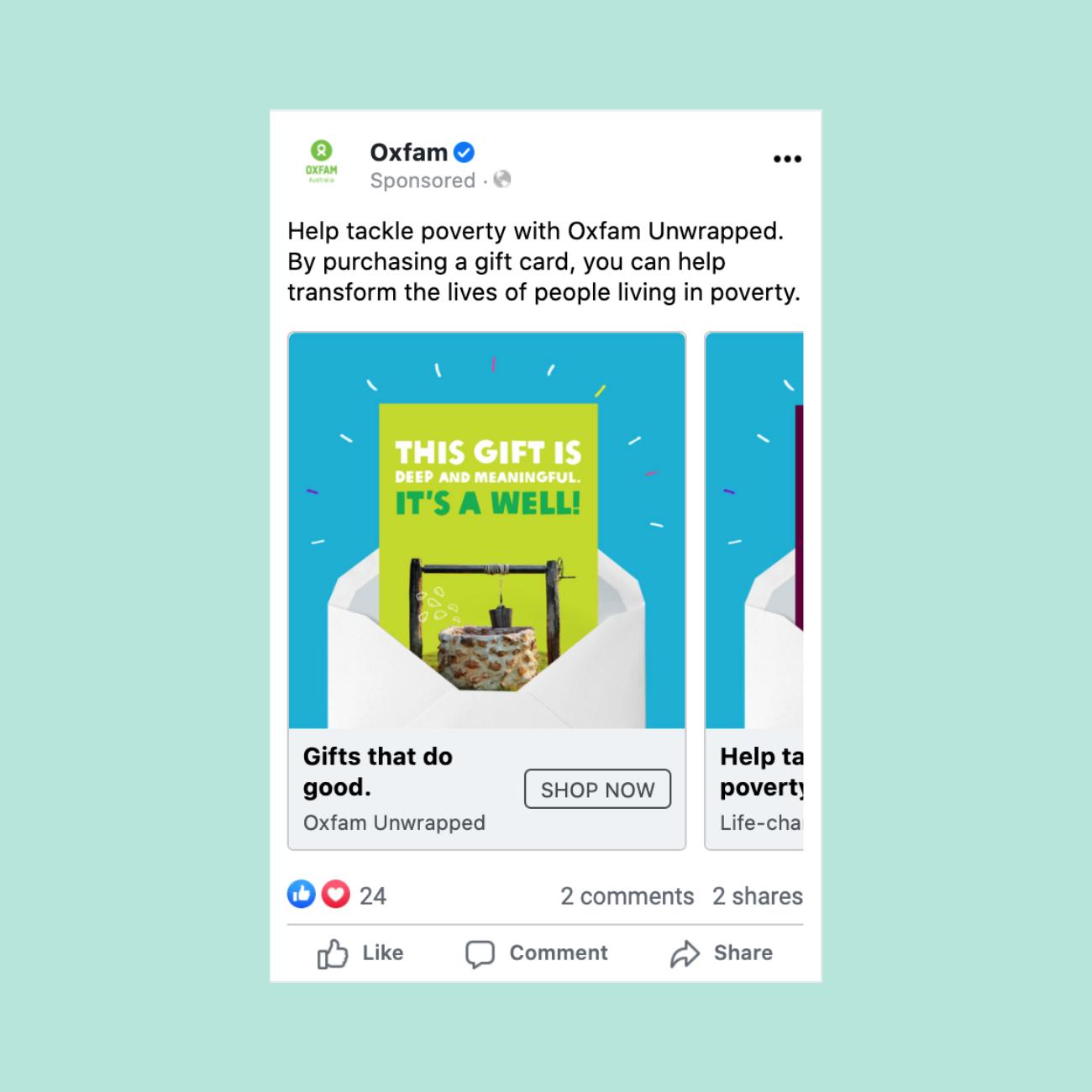 Oxfam Unwrapped digital advertising